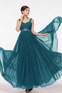 Dress: petrol, flowing prom dresses, long prom dress, prom ...