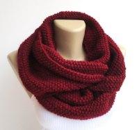 burgundy knitted infinity scarf Knit scarf women infinity ...