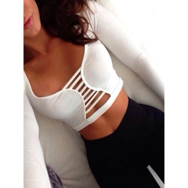 Shirt pretty black and white tight tank top lace top white crop tops  Wheretoget