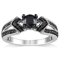 jewels, ring, women fashion rings, black diamond ring ...