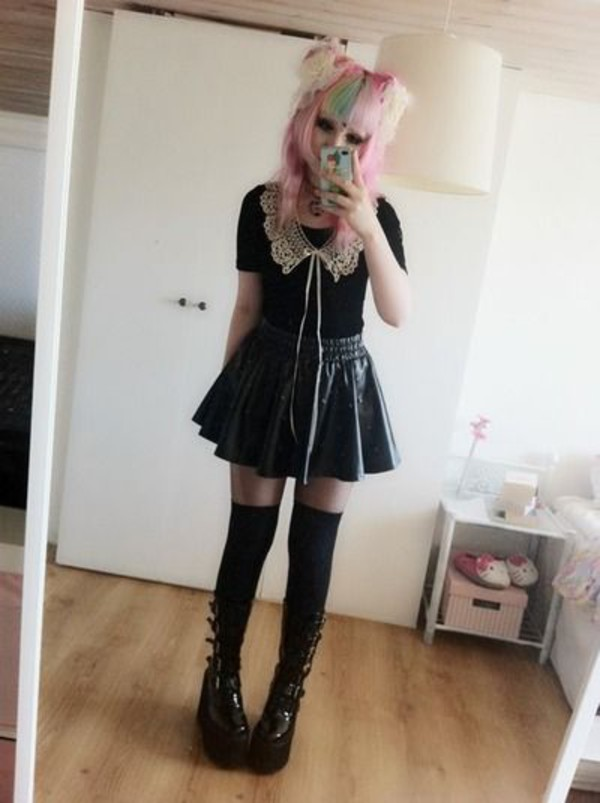 shoes lace black pastel goth boots knee high socks