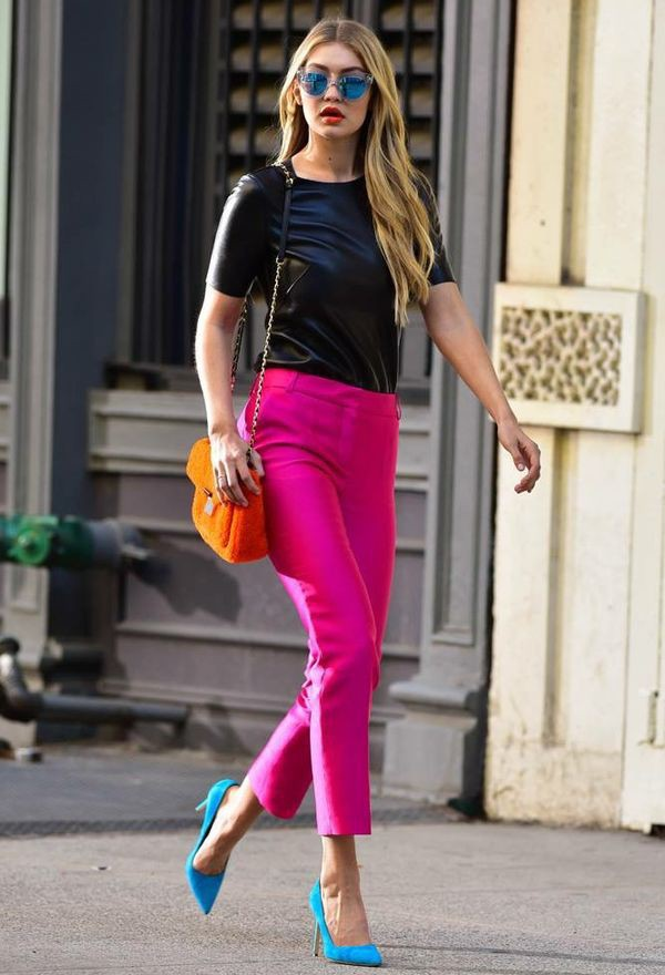 Pants pink pants pink capri pants top black top bag
