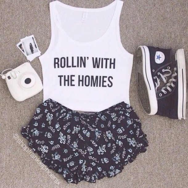 tank top shorts summer shorts converse summer flowered shorts shoes sneakers cute edgy