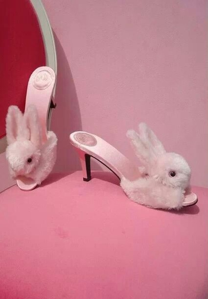 Shoes pink bunny pink high heels high heels funny