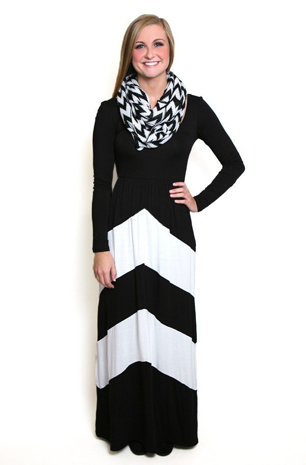 Walk This Way Long Sleeve Maxi Dress in Black and White