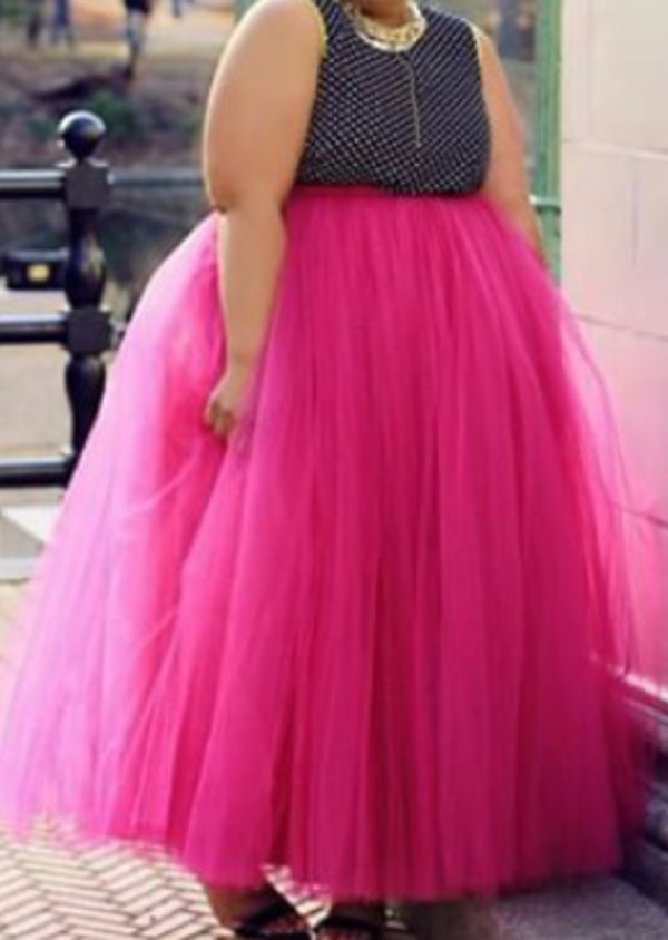 skirt plus size size pink tulle skirt curvy  Wheretoget