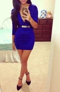Dress: dressy, royal, blue, deep v, classy, cute, urgent ...