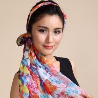 Colorful Pattern Silk Head Scarves Red