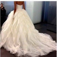 Dress: wedding dress, long train dress, white dress, puffy