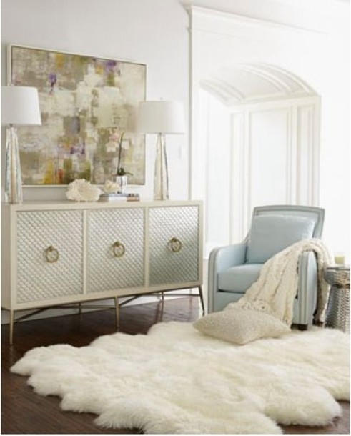 Bag fluffy fluffy rug white light blue bedroom