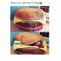 Home accessory: hamburger, food, bedding, chair, room ...