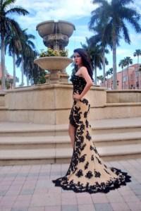 dress, prom, high low, lace, tan, black