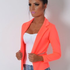 Orange Office Chairs Uk How To Replace Lawn Chair Webbing Sunburst Neon Fitted Zip Blazer Jacket | Pink Boutique