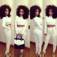 Pants: white, outfit, poppin, blouse, dress, two-piece ...