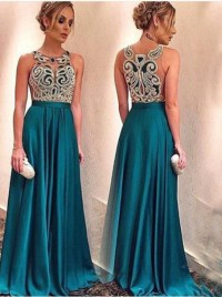 Dress: illusion, appliques prom dress, dark green, satin ...