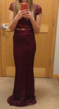 dress, burgundy, two