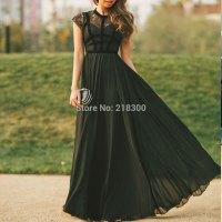 Aliexpress.com : Buy Modest black prom dresses cap sleeves ...