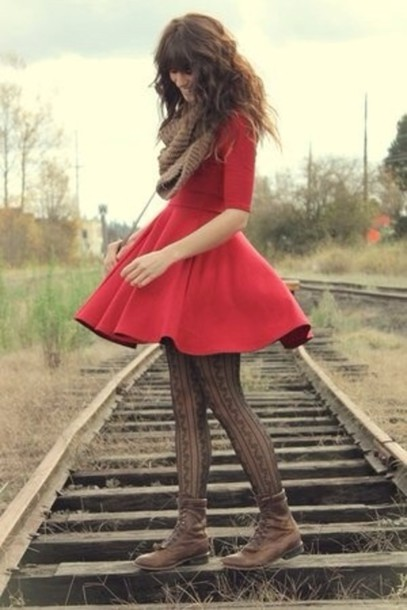dress red red dress scarf winter outfits fall outfits fall boots boots combat boots