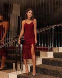 dress, tumblr, red dress, slit dress, red lace dress, lace ...