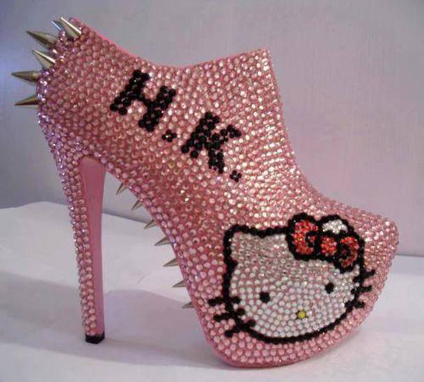 Cute Rhinestone Wallpaper Shoes Hello Kitty Pink Cute High Heel Wheretoget
