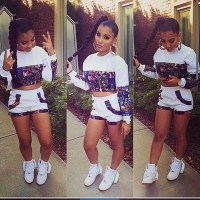 Top: two-piece, shorts, crop tops, outfit, dope, cute ...