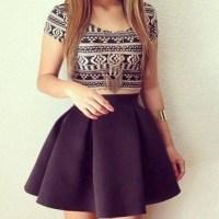Dress: top, skirt, black skirt, poofy skirt, tumblr skirt ...
