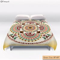Duvet Cover, Pattern Cowboy and Mustache Mandala, Ethnic ...