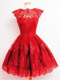 dress, red, prom, puffy, cute, girly, lace, fashion, style ...