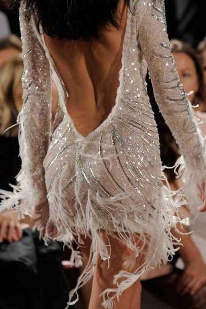 Dress dance glitter dress deep v back dance feathers