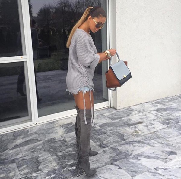 Shoes grey girly hoodie blonde hair pink over the