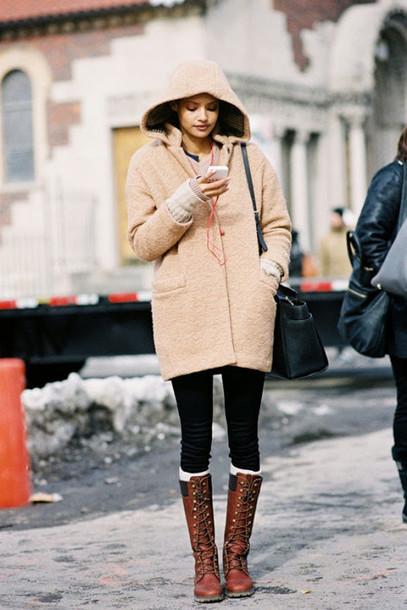 Shoes Vanessa Jackman Blogger Duffle Coat Beige Brown