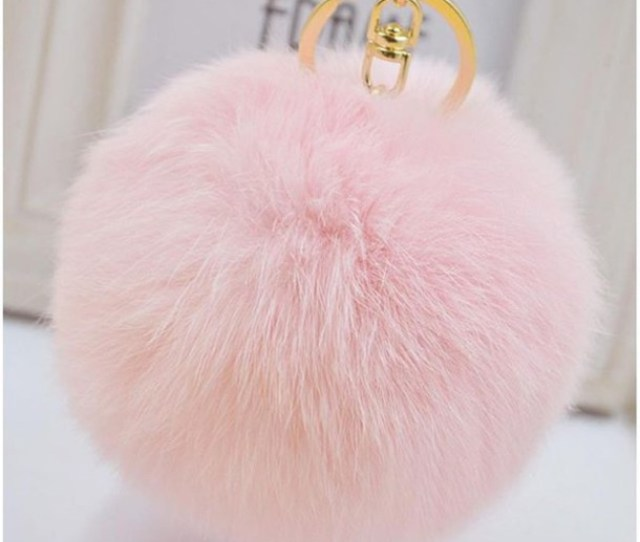 Her Teen Dream Keychain Bag Accessories Handbag Baby Pink Fluffy Faux Fur Fur Keychain