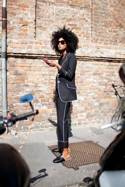 Le Fashion Image Blogger Natural Hair Tailoring Blazer Black