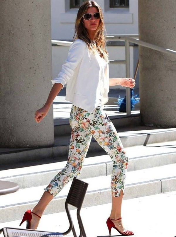 Pants floral white stretch skinny pants skinny jeans