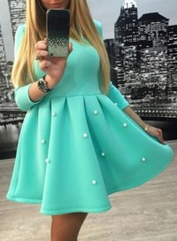 Dress: mint, pearl, puffy dress, girly, cute, turquoise ...