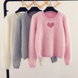 sweater aesthetic pastel pink kawaii heart discount cut clothing wheretoget cutout hollow pullover chest wants know where okwowcool okaywowcool