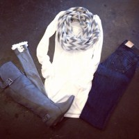 scarf, infinity scarf, grey and white, chevron - Wheretoget