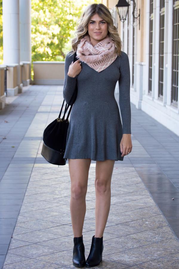 Dress Cute Dress Sweater Sweater Dress Scarf Purse