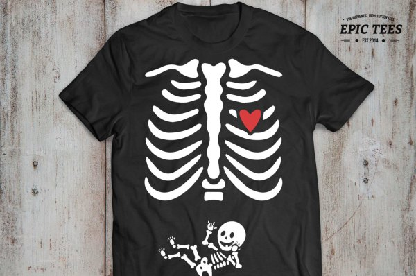 Halloween Maternity Shirt Skeleton Baby