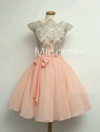 Cute Peach Lace Applique Short Chiffon Homecoming Dresses ...