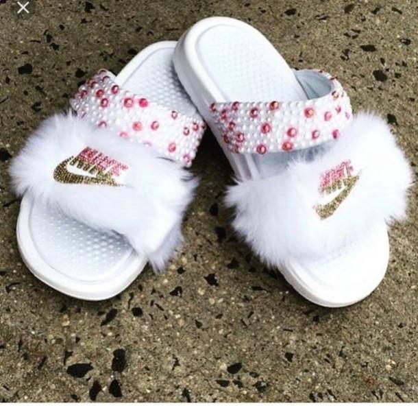shoes pink slide shoes fur slides custom slides nike