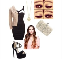 Shoes: black and tan heels, little black dress, tan