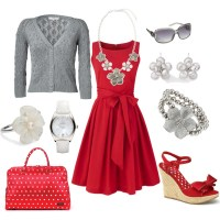 Red dress with grey and white tones - Polyvore