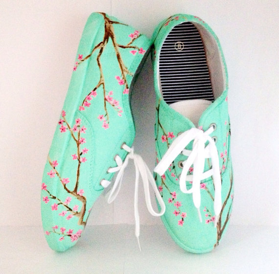 Mint Green Cherry Blossom vans style shoes on Wanelo