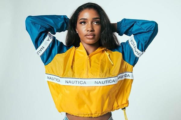 Coat: Nautica, Windbreaker, Blue, Yellow, Jacket, Cropped