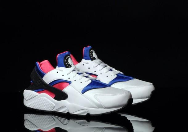 Shoes nike air huarache white pink blue black  Wheretoget