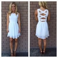 Dress: white dress, backless white dress, crossback, short ...