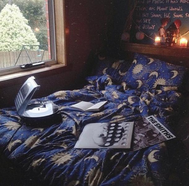Dress: moon, stars, blue, sleep, bedding, bedroom, yellow