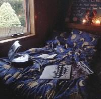 Dress: moon, stars, blue, sleep, bedding, bedroom, yellow ...