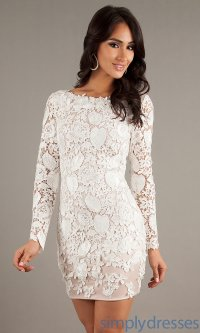 Short White Lace Dress JA-W040 [JA-W040] - $298.50 : Be ...